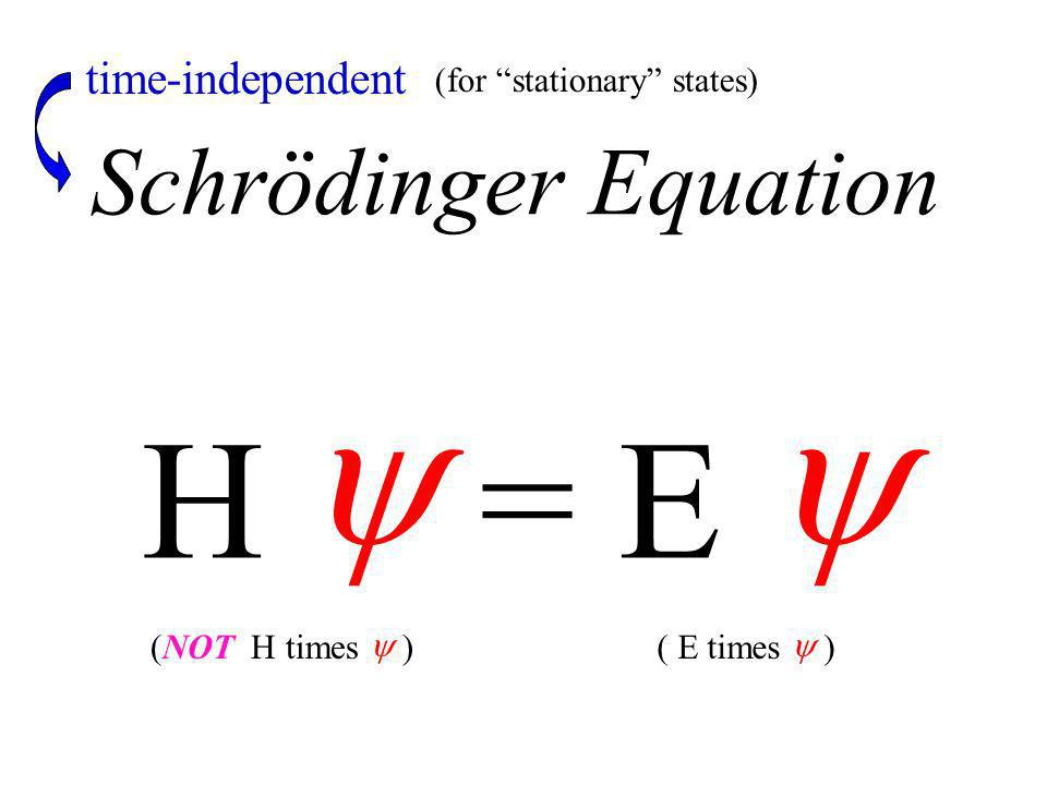 Schrödinger Equation H = E (for stationary states) time-independent ( E times )(NOT H times )