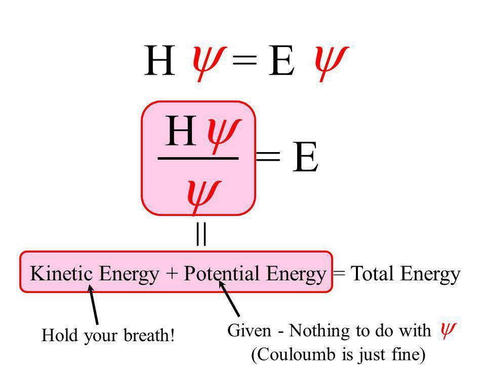 = H = E Kinetic Energy + Potential Energy = Total Energy Given - Nothing to do with (Couloumb is just fine) Hold your breath! H = E