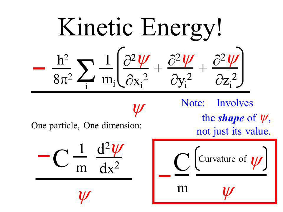 Kinetic Energy! 2 x i 2 2 y i 2 2 z i 2 ++ 1 mimi i h2h2 8 2 d2d2 dx2dx2 1 m C C Curvature of m One particle,One dimension: Note: Involves. … the shap