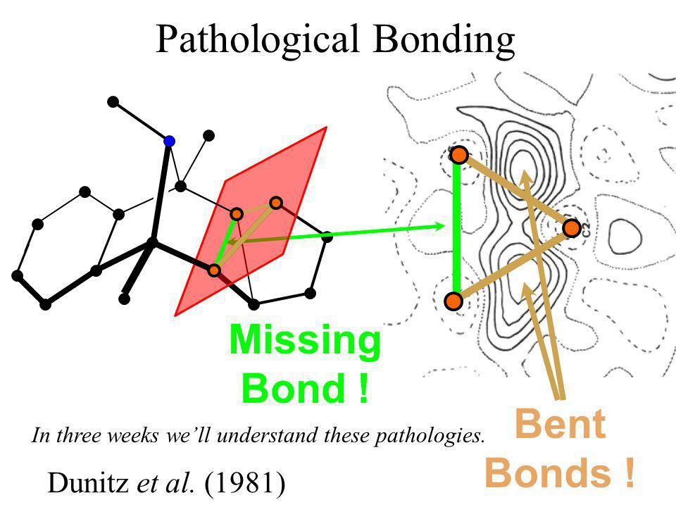Dunitz et al. (1981) Missing Bond ! Bent Bonds ! In three weeks well understand these pathologies. Pathological Bonding