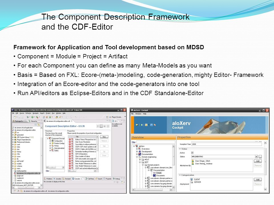 The Component Description Framework and the CDF-Editor Framework for Application and Tool development based on MDSD Component = Module = Project = Artifact For each Component you can define as many Meta-Models as you want Basis = Based on FXL: Ecore-(meta-)modeling, code-generation, mighty Editor- Framework Integration of an Ecore-editor and the code-generators into one tool Run API/editors as Eclipse-Editors and in the CDF Standalone-Editor