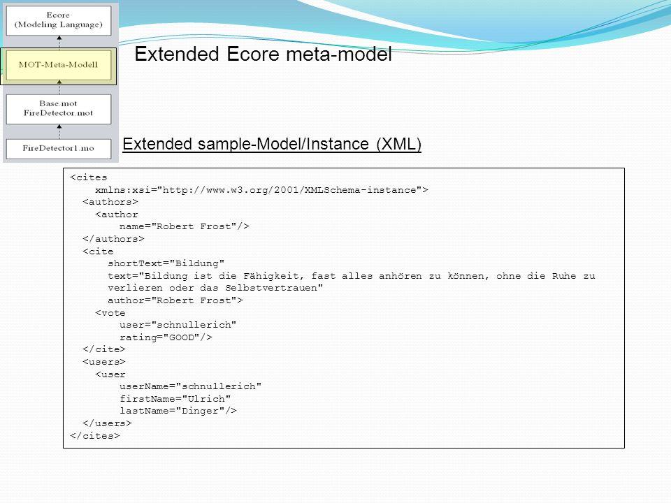 Extended Ecore meta-model <cites xmlns:xsi= http://www.w3.org/2001/XMLSchema-instance > <author name= Robert Frost /> <cite shortText= Bildung text= Bildung ist die Fähigkeit, fast alles anhören zu können, ohne die Ruhe zu verlieren oder das Selbstvertrauen author= Robert Frost > <vote user= schnullerich rating= GOOD /> <user userName= schnullerich firstName= Ulrich lastName= Dinger /> Extended sample-Model/Instance (XML)