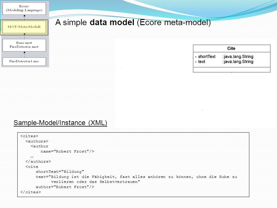 A simple data model (Ecore meta-model) <author name= Robert Frost /> … <cite shortText= Bildung text= Bildung ist die Fähigkeit, fast alles anhören zu können, ohne die Ruhe zu verlieren oder das Selbstvertrauen author= Robert Frost /> Sample-Model/Instance (XML)