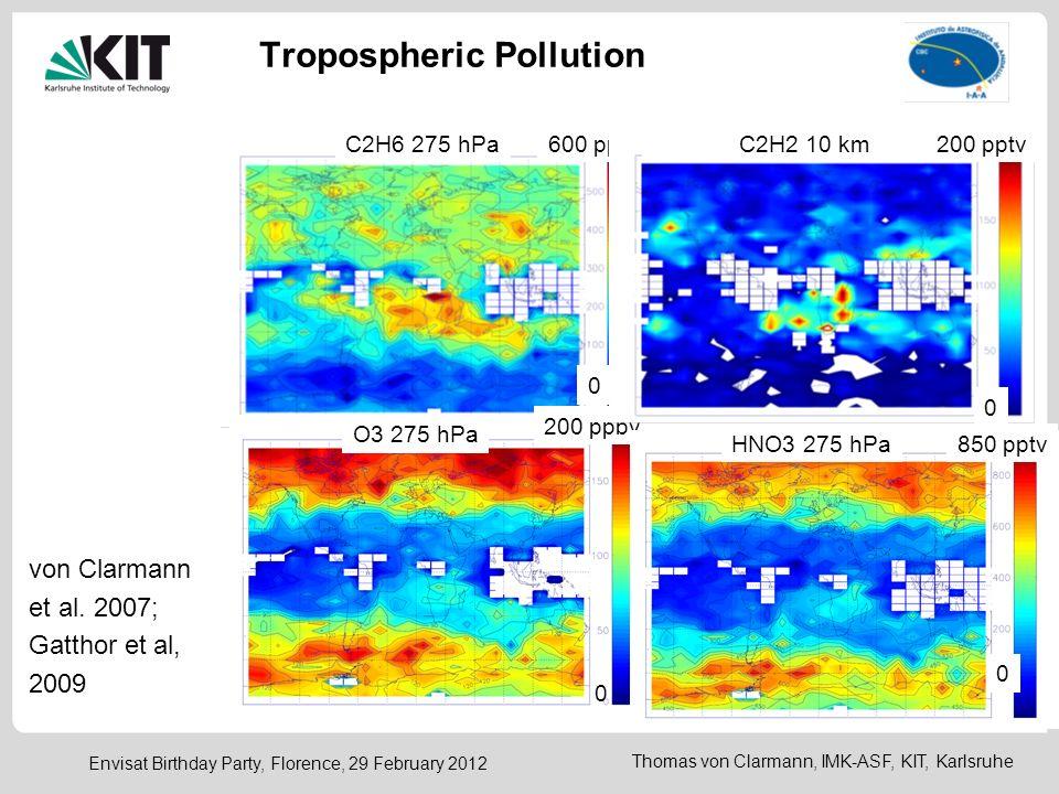 Thomas von Clarmann, IMK-ASF, KIT, Karlsruhe Envisat Birthday Party, Florence, 29 February 2012 Tropospheric Pollution C2H6 275 hPa 0 600 pptv O3 275