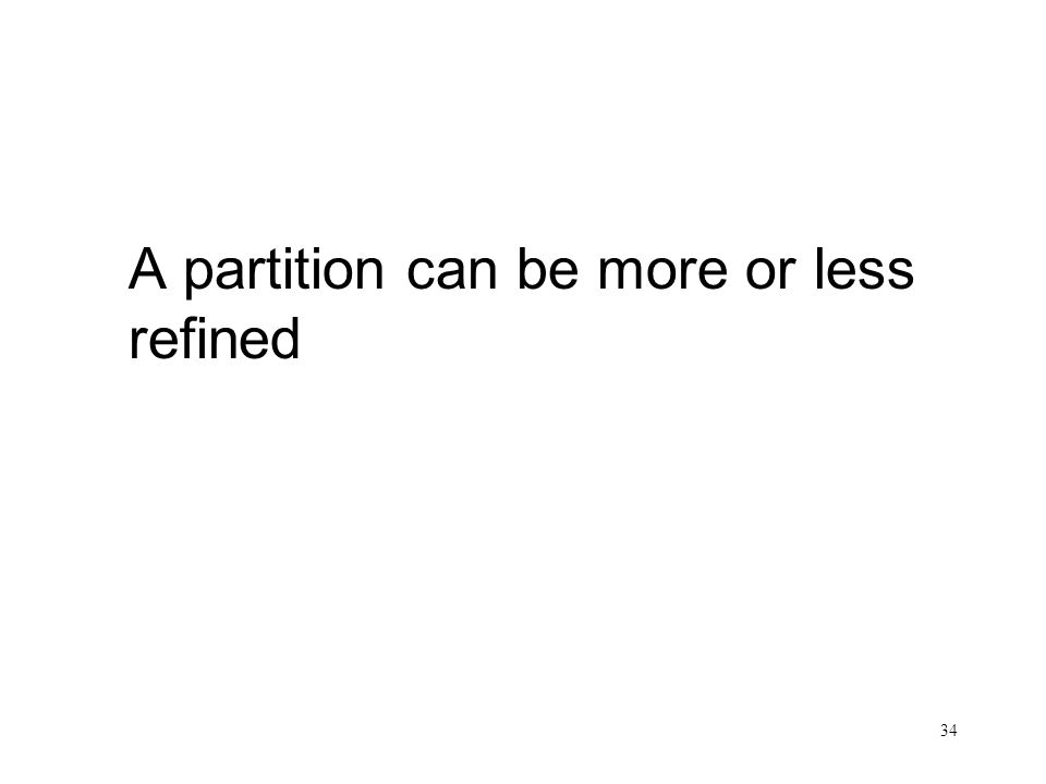 34 A partition can be more or less refined