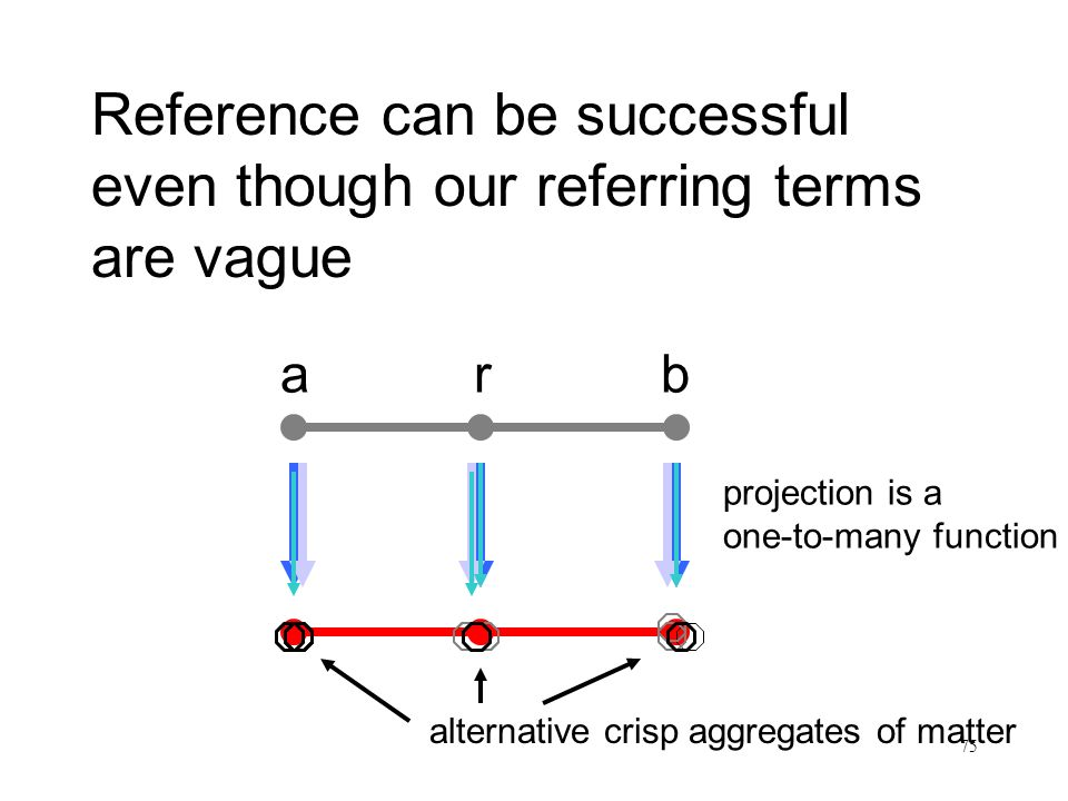 75 Reference can be successful even though our referring terms are vague Satz und Sachverhalt arb alternative crisp aggregates of matter projection is