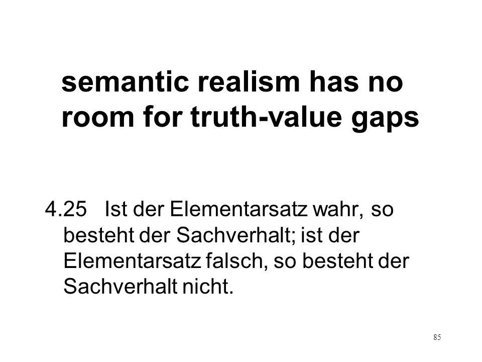 85 semantic realism has no room for truth-value gaps 4.25 Ist der Elementarsatz wahr, so besteht der Sachverhalt; ist der Elementarsatz falsch, so bes