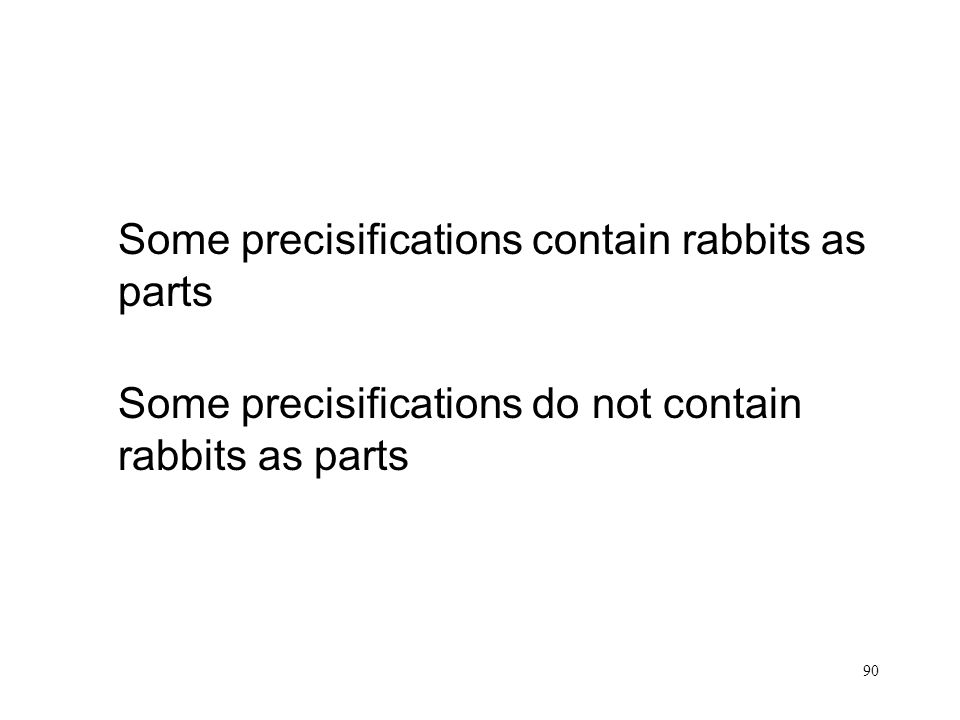 90 Rabbits Some precisifications contain rabbits as parts Some precisifications do not contain rabbits as parts