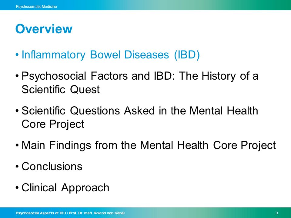 Psychosocial Aspects of IBD / Prof. Dr. med. Roland von Känel3 Psychosomatic Medicine Overview Inflammatory Bowel Diseases (IBD) Psychosocial Factors