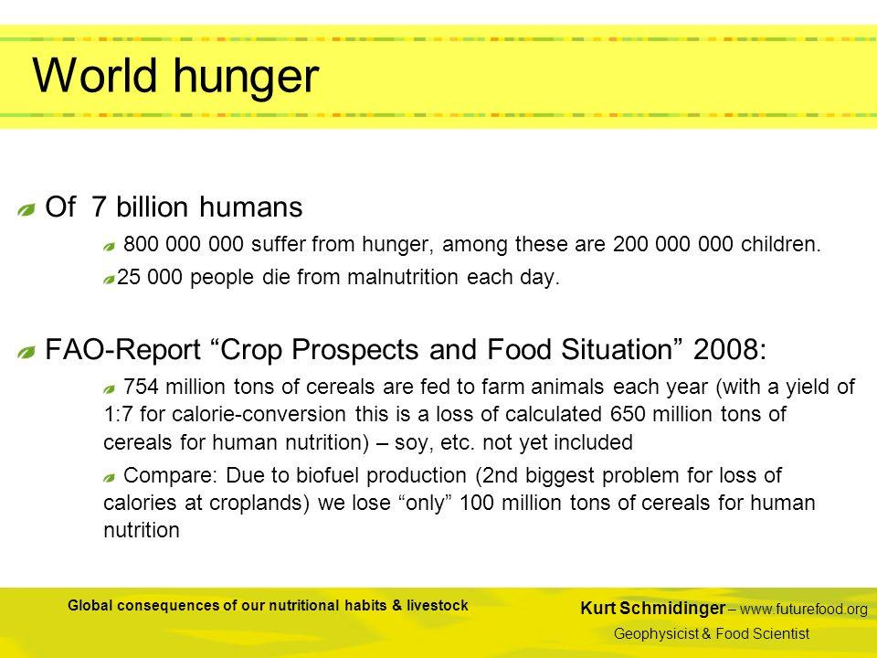 Kurt Schmidinger – www.futurefood.org Geophysicist & Food Scientist Global consequences of our nutritional habits & livestock World hunger Of 7 billio