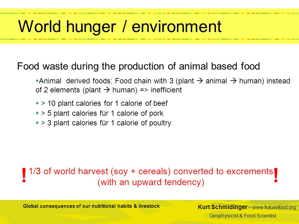 Kurt Schmidinger – www.futurefood.org Geophysicist & Food Scientist Global consequences of our nutritional habits & livestock Food waste during the pr