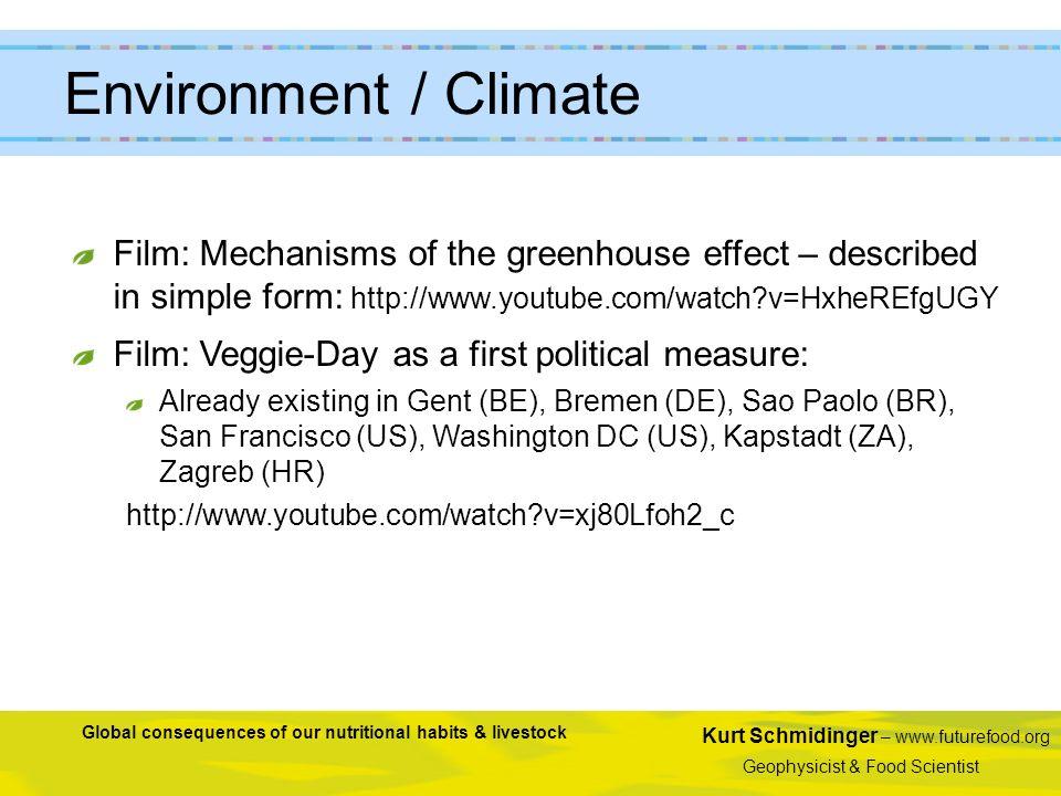 Kurt Schmidinger – www.futurefood.org Geophysicist & Food Scientist Global consequences of our nutritional habits & livestock Environment / Climate Fi