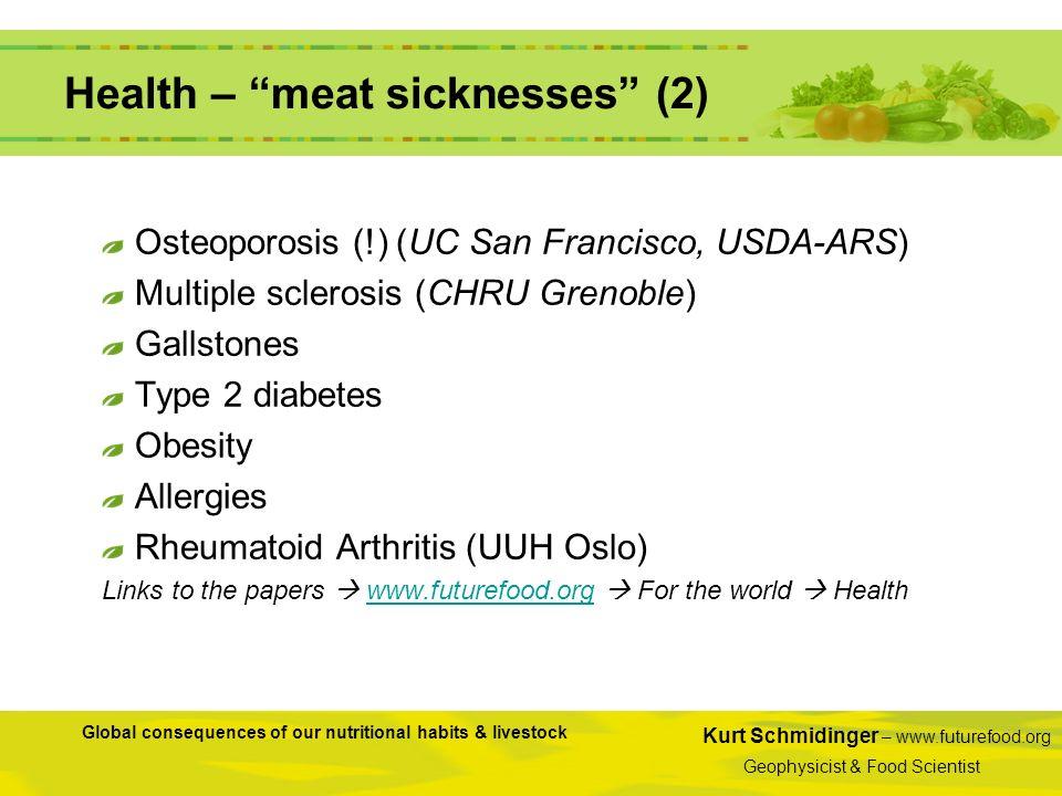 Kurt Schmidinger – www.futurefood.org Geophysicist & Food Scientist Global consequences of our nutritional habits & livestock Health – meat sicknesses