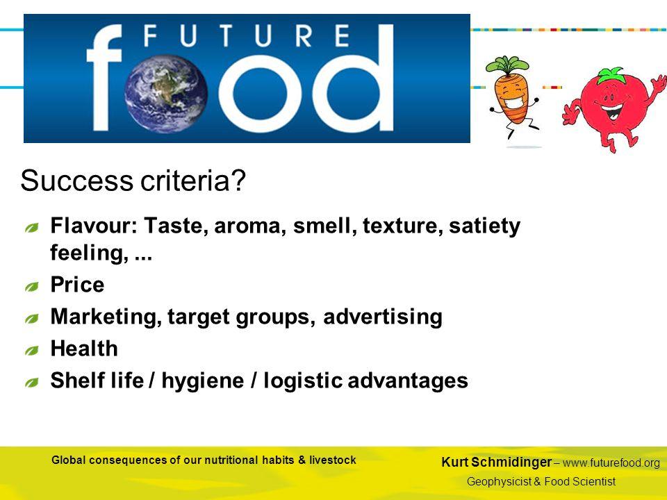 Kurt Schmidinger – www.futurefood.org Geophysicist & Food Scientist Global consequences of our nutritional habits & livestock Flavour: Taste, aroma, s