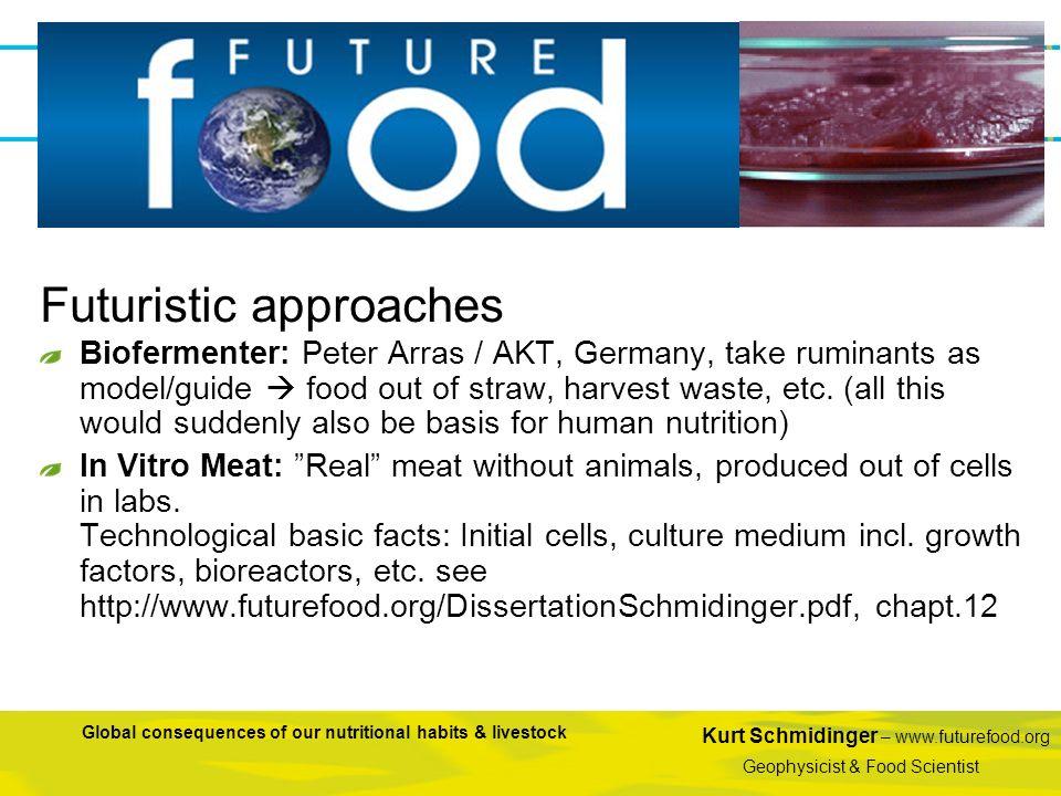 Kurt Schmidinger – www.futurefood.org Geophysicist & Food Scientist Global consequences of our nutritional habits & livestock Biofermenter: Peter Arra