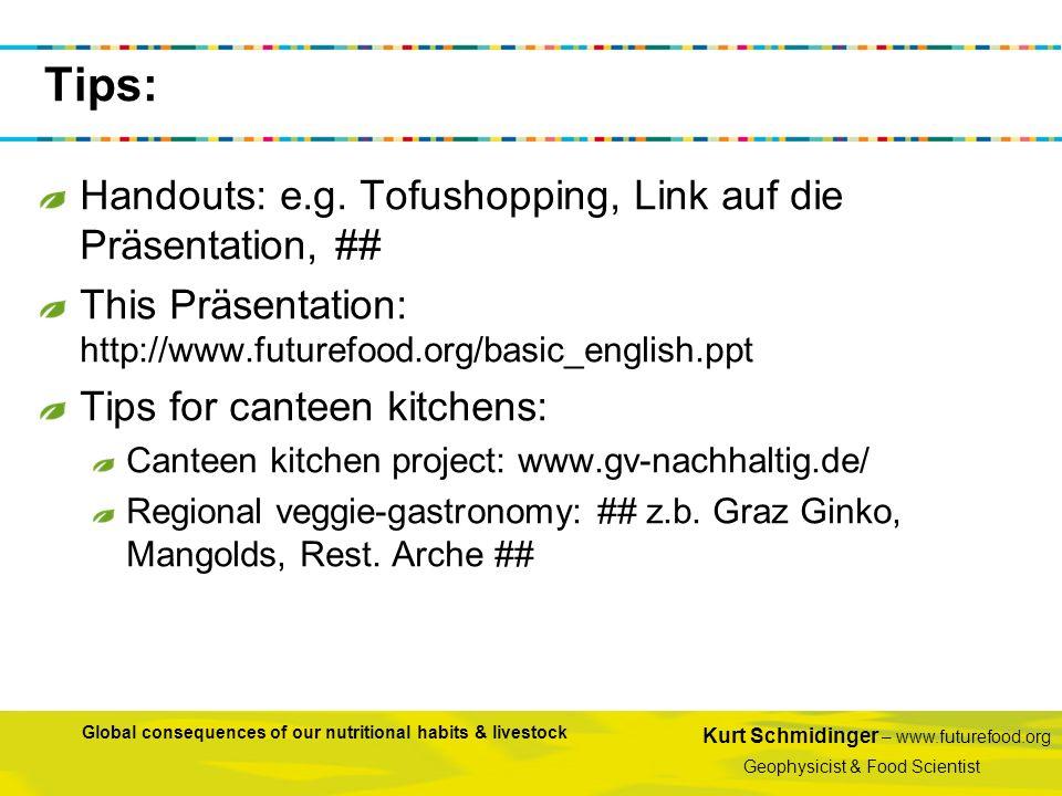 Kurt Schmidinger – www.futurefood.org Geophysicist & Food Scientist Global consequences of our nutritional habits & livestock Handouts: e.g. Tofushopp