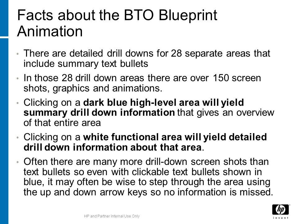 Facts about the BTO Blueprint Animation There are detailed drill downs for 28 separate areas that include summary text bullets In those 28 drill down areas there are over 150 screen shots, graphics and animations.