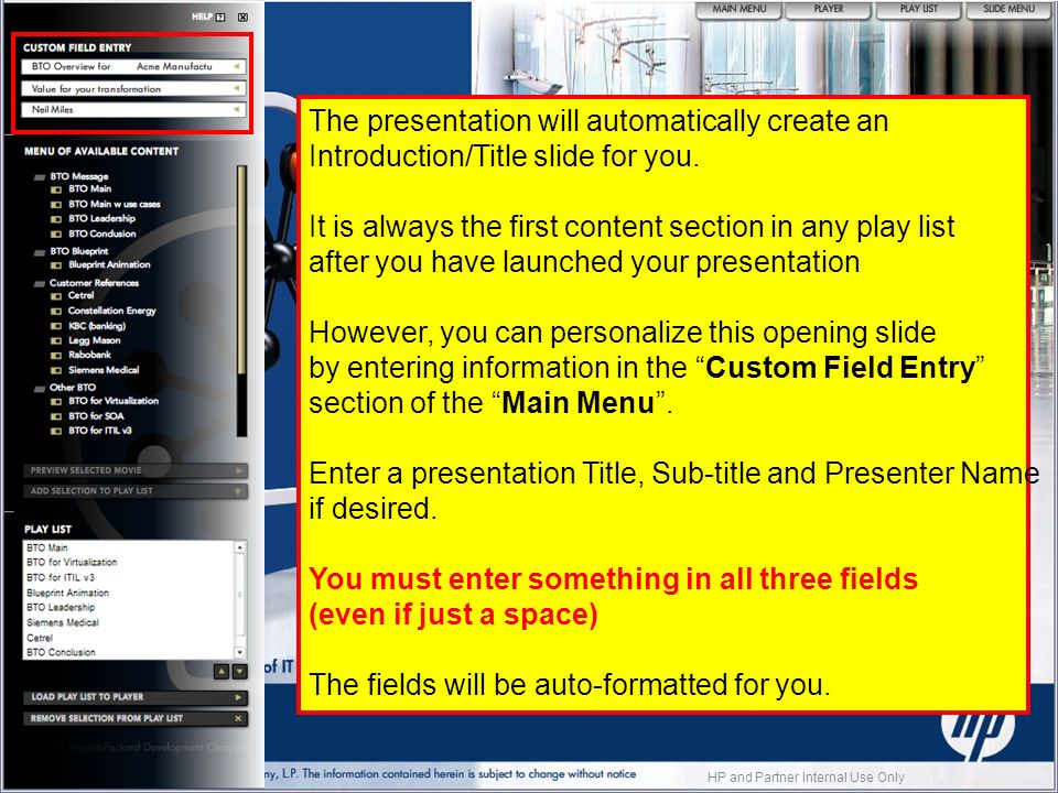The presentation will automatically create an Introduction/Title slide for you.