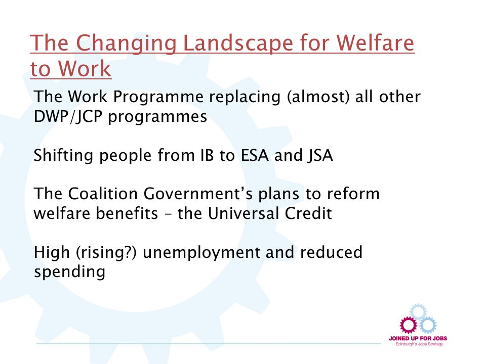 The Changing Landscape for Welfare to Work The Work Programme replacing (almost) all other DWP/JCP programmes Shifting people from IB to ESA and JSA The Coalition Governments plans to reform welfare benefits – the Universal Credit High (rising ) unemployment and reduced spending