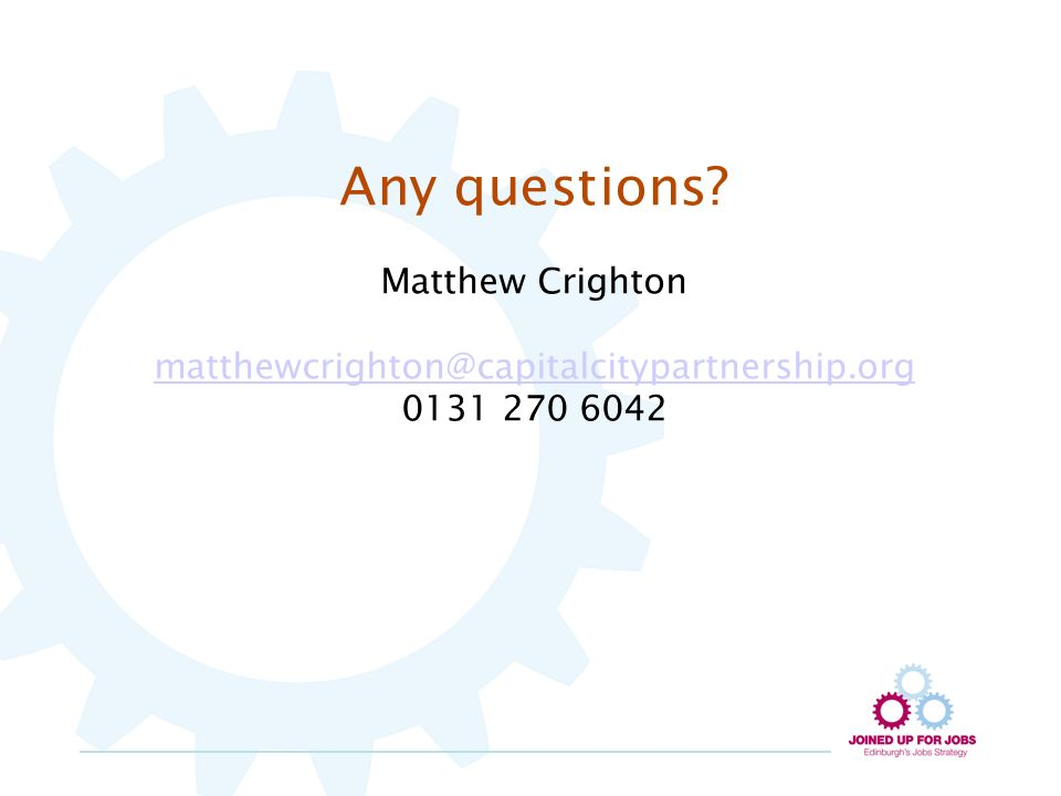 Any questions Matthew Crighton