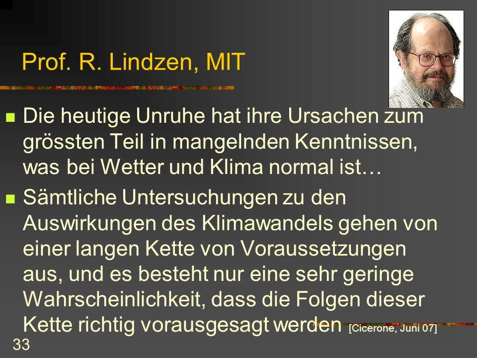 33 Prof. R. Lindzen, MIT Die heutige Unruhe hat ihre Ursachen zum grössten Teil in mangelnden Kenntnissen, was bei Wetter und Klima normal ist… Sämtli