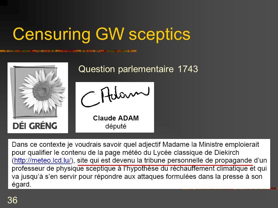 36 Censuring GW sceptics Question parlementaire 1743