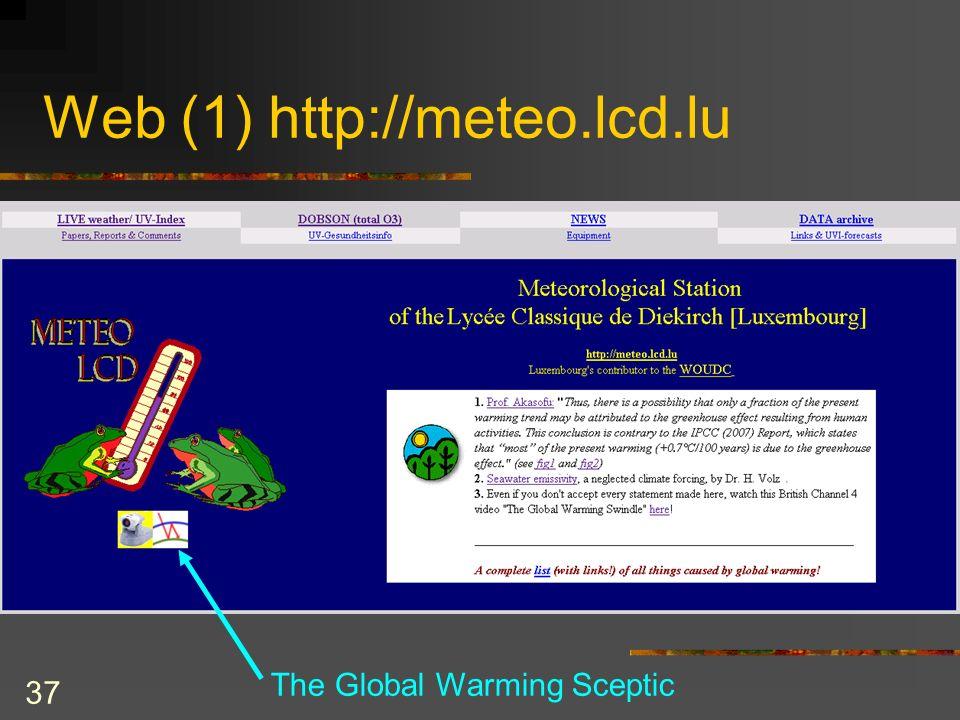 37 Web (1) http://meteo.lcd.lu The Global Warming Sceptic