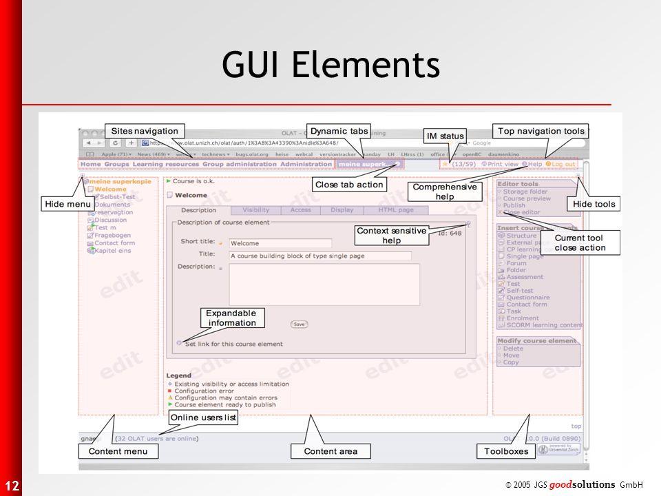12 © 2005 JGS goodsolutions GmbH GUI Elements