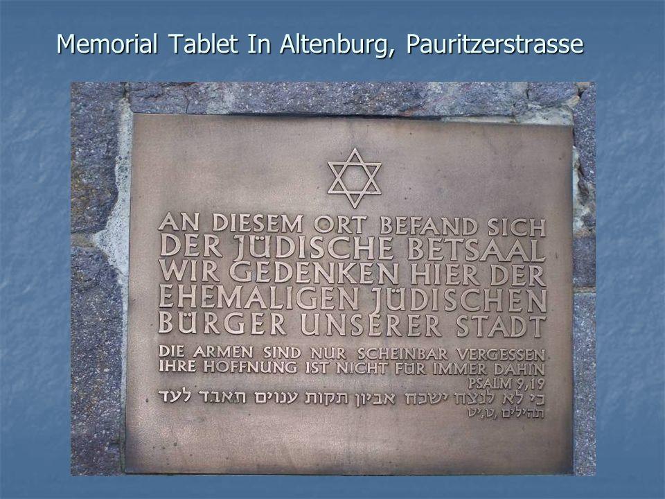 Memorial Tablet In Altenburg, Pauritzerstrasse