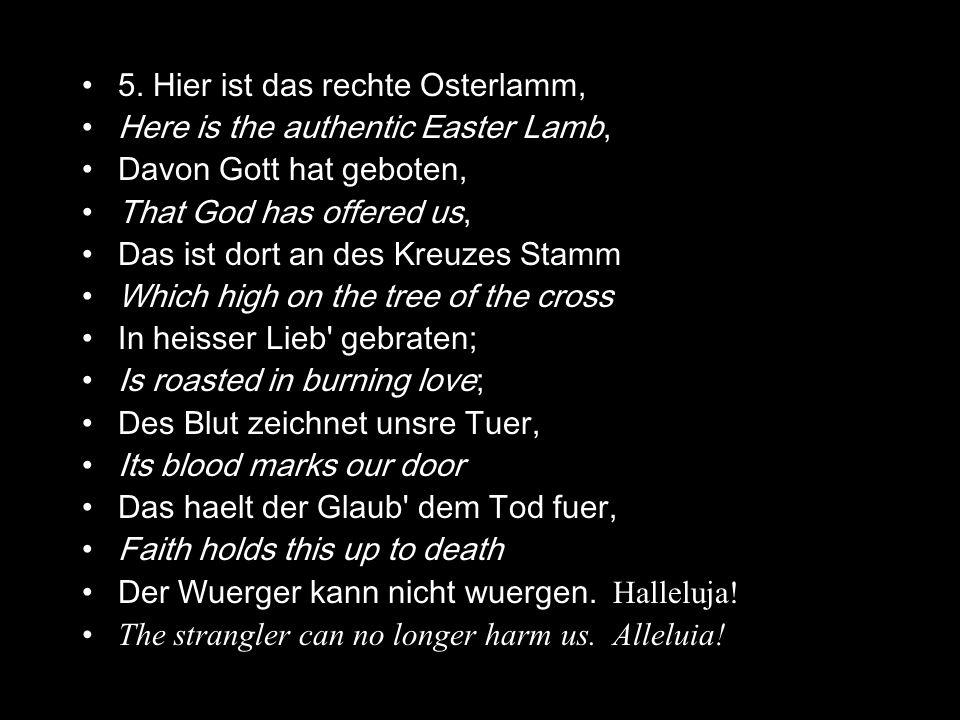 5. Hier ist das rechte Osterlamm, Here is the authentic Easter Lamb, Davon Gott hat geboten, That God has offered us, Das ist dort an des Kreuzes Stam