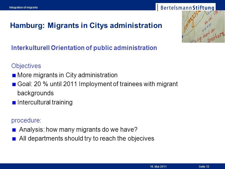 Integration of migrants Seite 12 Hamburg: Migrants in Citys administration Interkulturell Orientation of public administration Objectives More migrant