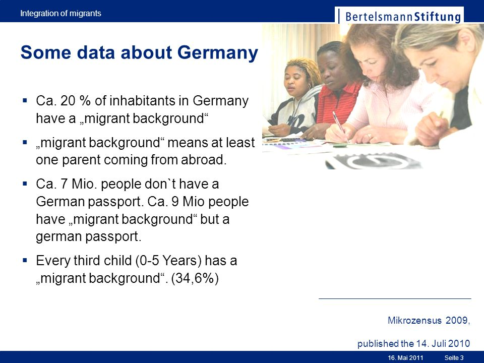 Integration of migrants Seite 316. Mai 2011 Some data about Germany Ca. 20 % of inhabitants in Germany have a migrant background migrant background me