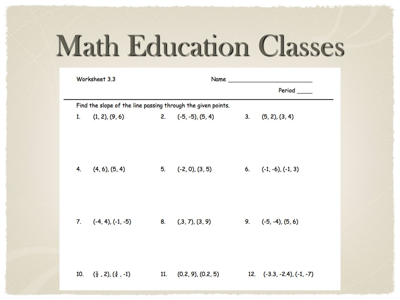 Math Education Classes