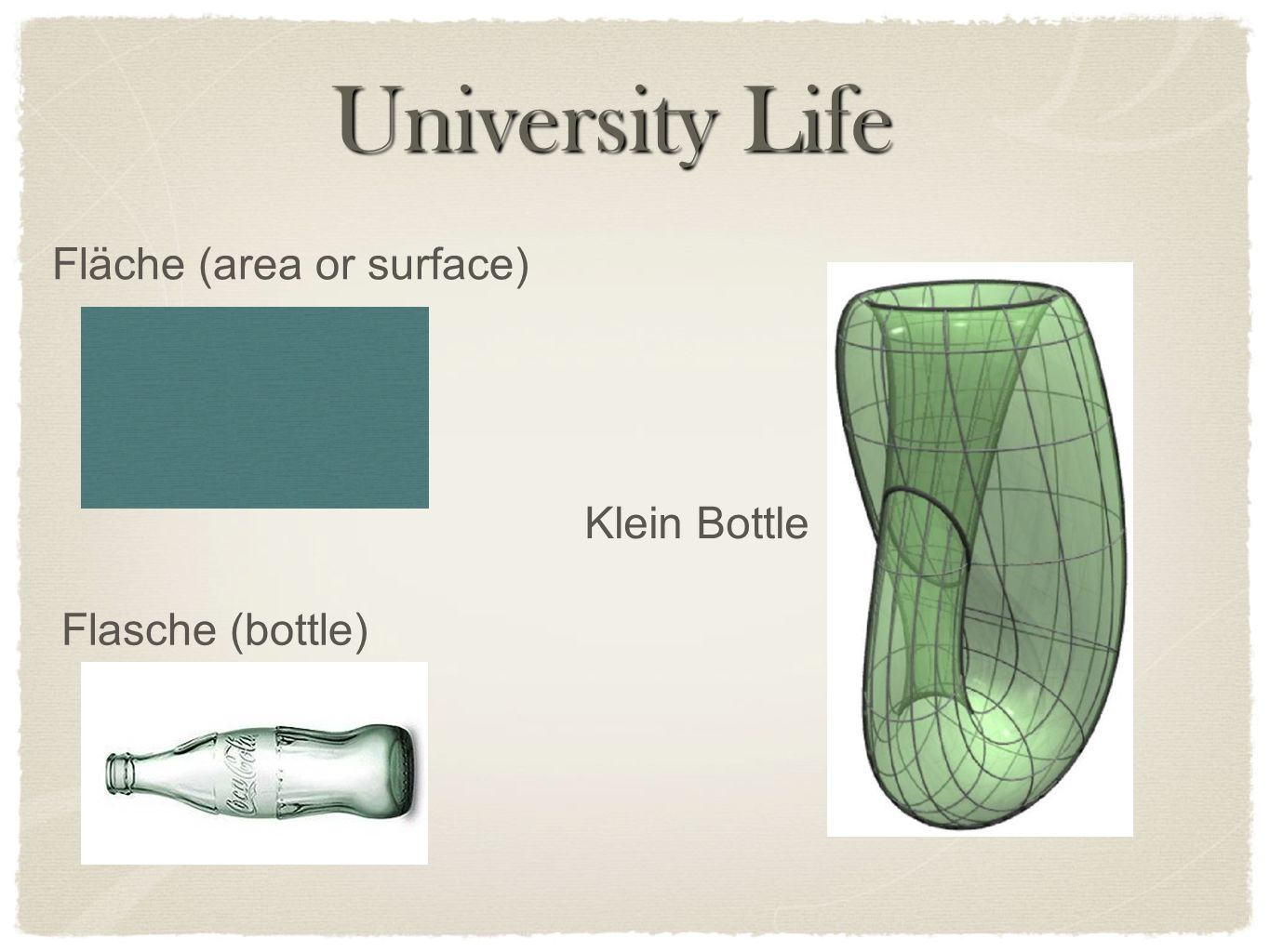 University Life Fläche (area or surface) Klein Bottle Flasche (bottle)