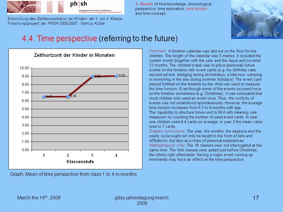gdsu jahrestagung march 2008 17 Entwicklung des Zeitbewusstseins bei Kindern der 1.