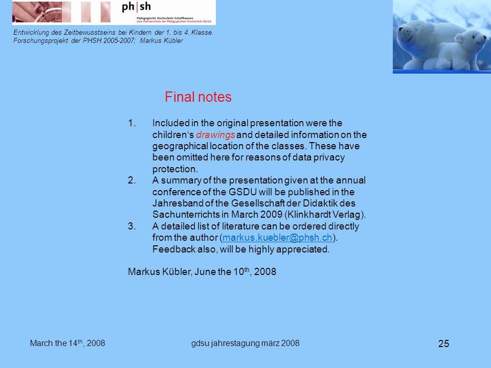 gdsu jahrestagung märz 2008 25 Entwicklung des Zeitbewusstseins bei Kindern der 1.