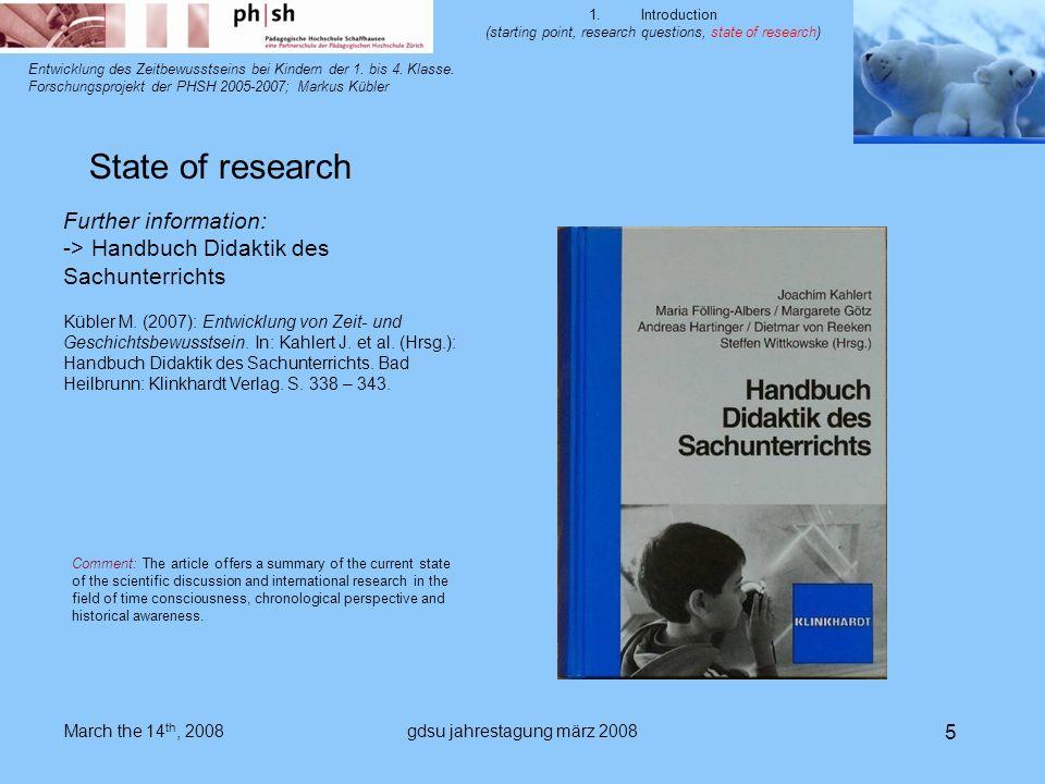 gdsu jahrestagung märz 2008 5 Entwicklung des Zeitbewusstseins bei Kindern der 1.