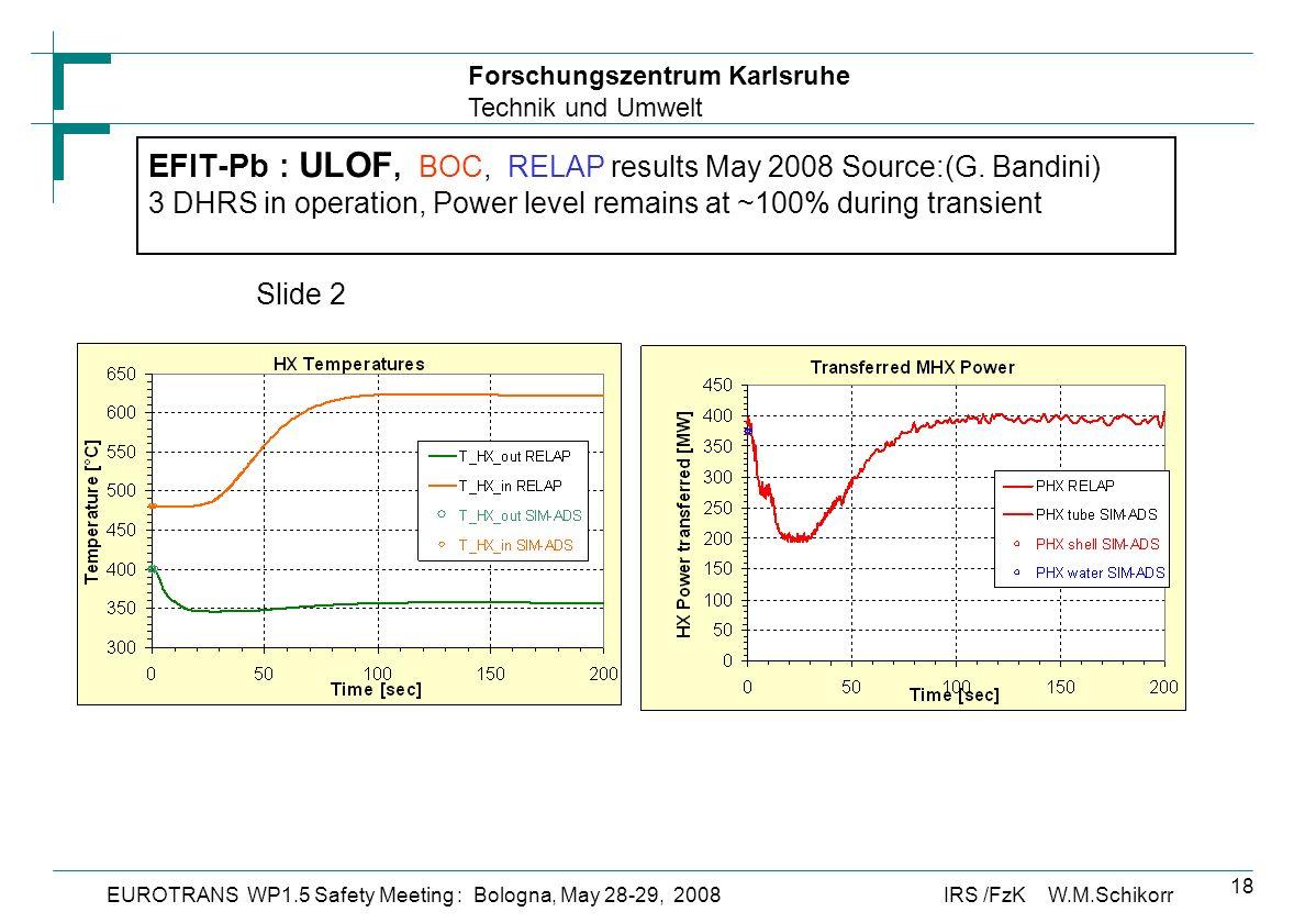 Forschungszentrum Karlsruhe Technik und Umwelt IRS /FzK W.M.SchikorrEUROTRANS WP1.5 Safety Meeting : Bologna, May 28-29, 2008 18 EFIT-Pb : ULOF, BOC, RELAP results May 2008 Source:(G.