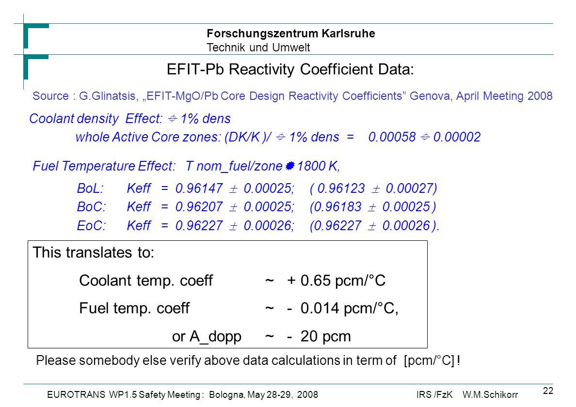 Forschungszentrum Karlsruhe Technik und Umwelt IRS /FzK W.M.SchikorrEUROTRANS WP1.5 Safety Meeting : Bologna, May 28-29, 2008 22 EFIT-Pb Reactivity Coefficient Data: Source : G.Glinatsis, EFIT-MgO/Pb Core Design Reactivity Coefficients Genova, April Meeting 2008 Coolant density Effect: 1% dens whole Active Core zones: (DK/K )/ 1% dens = 0.00058 0.00002 Fuel Temperature Effect: T nom_fuel/zone 1800 K, BoL: Keff = 0.96147 0.00025;( 0.96123 0.00027) BoC: Keff = 0.96207 0.00025;(0.96183 0.00025 ) EoC: Keff = 0.96227 0.00026;(0.96227 0.00026 ).