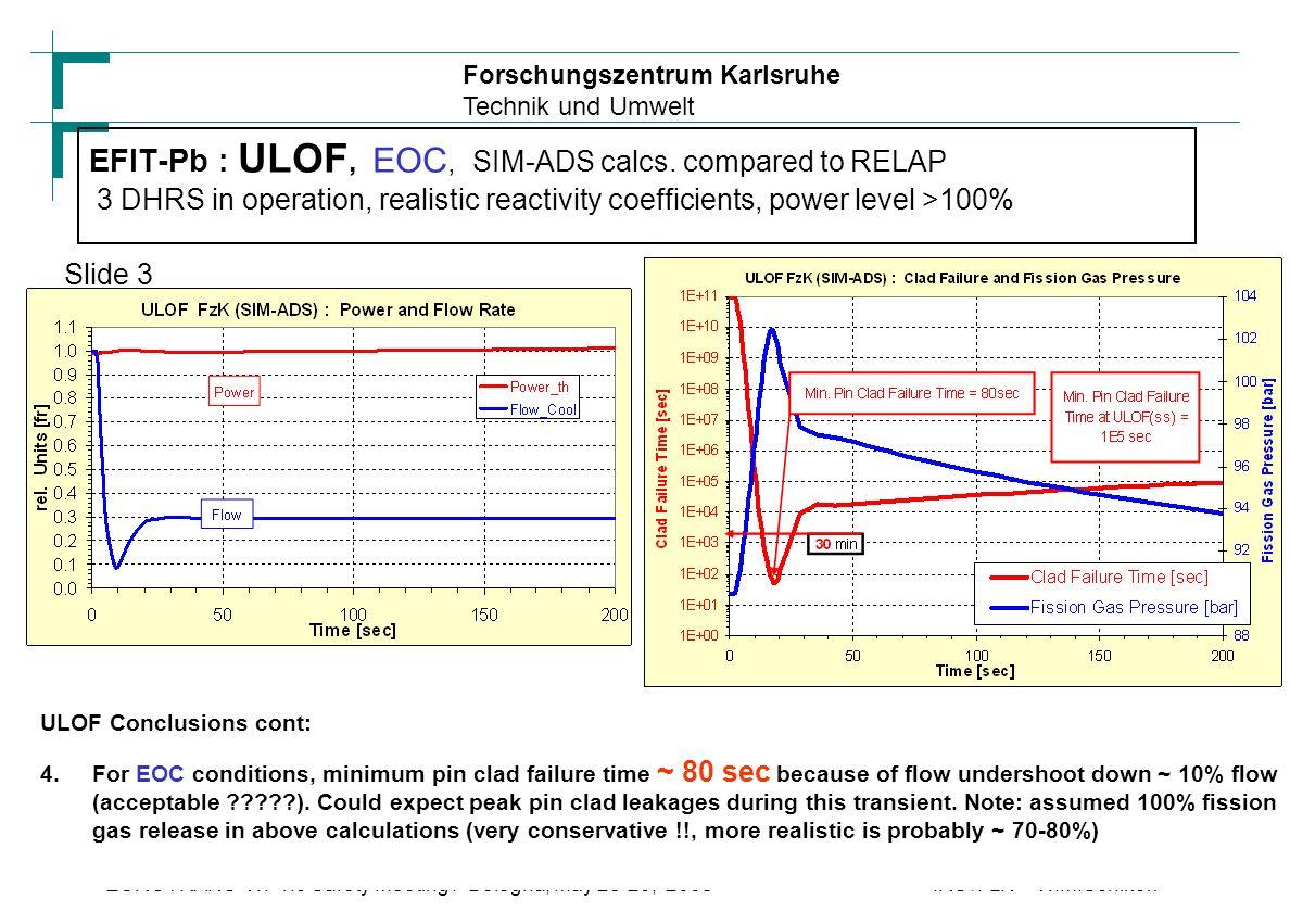 Forschungszentrum Karlsruhe Technik und Umwelt IRS /FzK W.M.SchikorrEUROTRANS WP1.5 Safety Meeting : Bologna, May 28-29, 2008 25 EFIT-Pb : ULOF, EOC, SIM-ADS calcs.