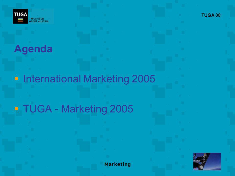 Marketing TUGA 08 Agenda International Marketing 2005 TUGA - Marketing 2005