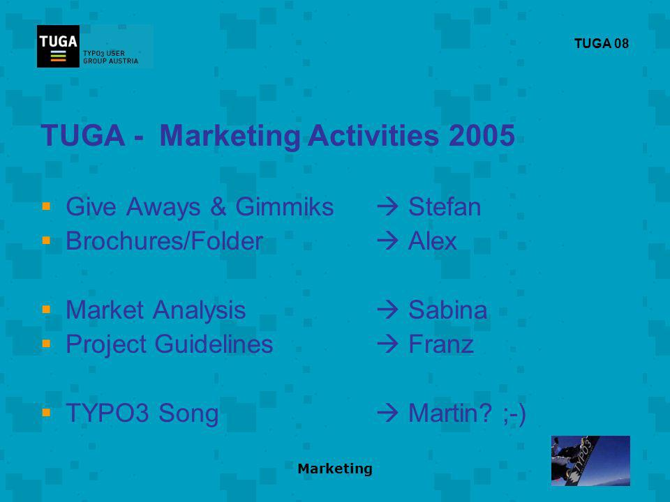 Marketing TUGA 08 TUGA - Marketing Activities 2005 Give Aways & Gimmiks Stefan Brochures/Folder Alex Market Analysis Sabina Project Guidelines Franz TYPO3 Song Martin.