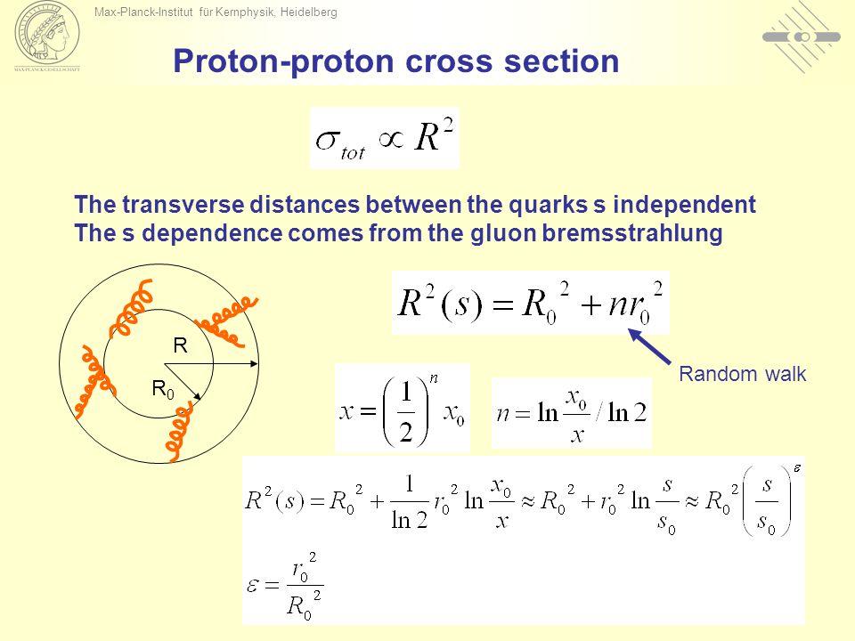 Max-Planck-Institut für Kernphysik, Heidelberg Proton-proton cross section Random walk The transverse distances between the quarks s independent The s