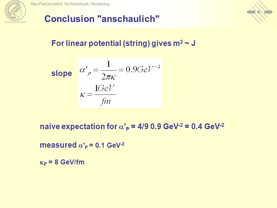 Max-Planck-Institut für Kernphysik, Heidelberg Conclusion anschaulich For linear potential (string) gives m 2 ~ J slope naive expectation for P = 4/9 0.9 GeV -2 = 0.4 GeV -2 measured P = 0.1 GeV -2 P = 8 GeV/fm