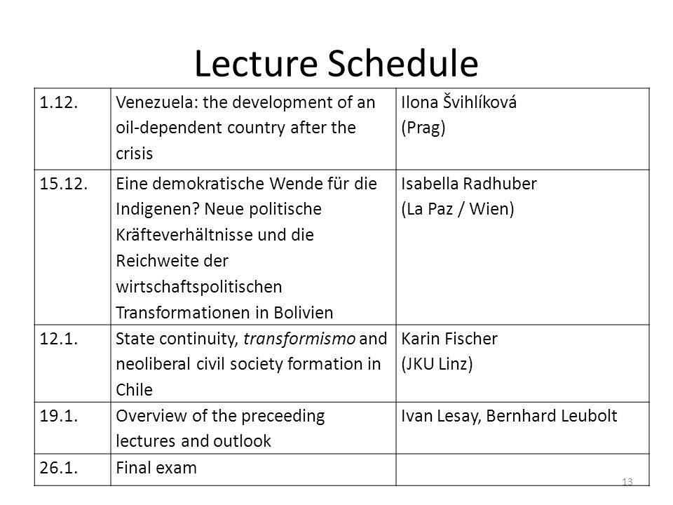 13 Lecture Schedule 1.12.