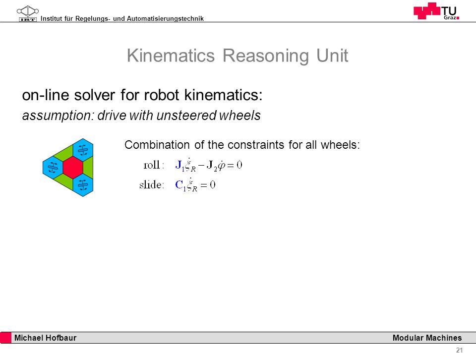 Institut für Regelungs- und Automatisierungstechnik 21 Michael Hofbaur Modular Machines Kinematics Reasoning Unit Combination of the constraints for a
