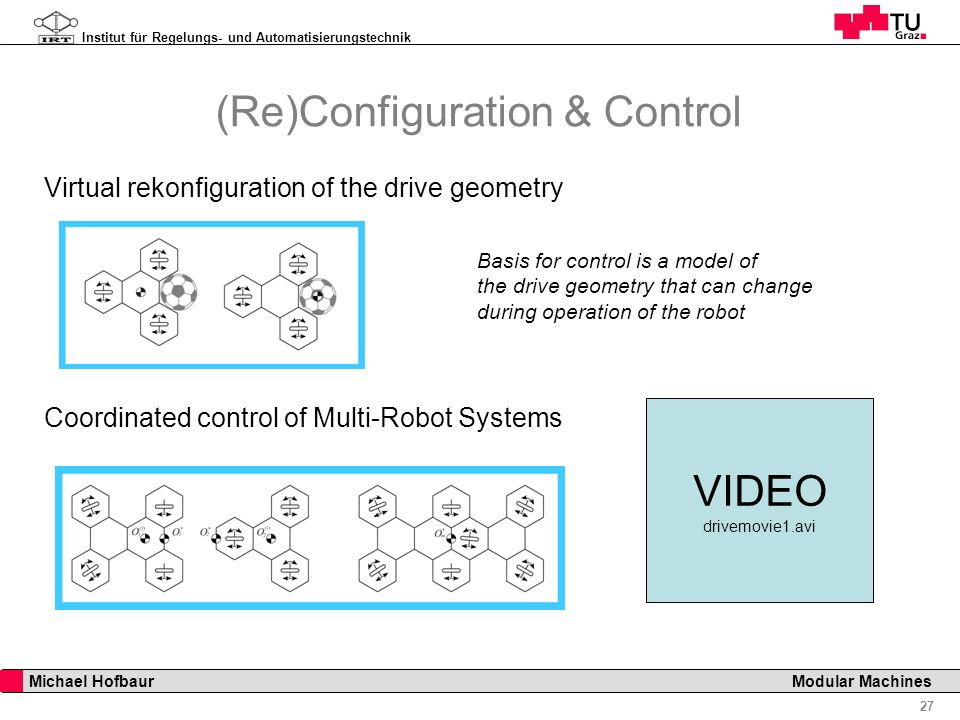 Institut für Regelungs- und Automatisierungstechnik 27 Michael Hofbaur Modular Machines Virtual rekonfiguration of the drive geometry Coordinated control of Multi-Robot Systems Basis for control is a model of the drive geometry that can change during operation of the robot (Re)Configuration & Control VIDEO drivemovie1.avi