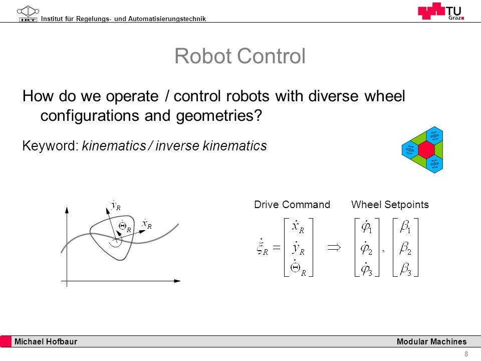 Institut für Regelungs- und Automatisierungstechnik 8 Michael Hofbaur Modular Machines Robot Control How do we operate / control robots with diverse w