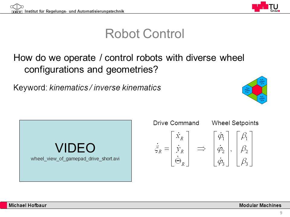 Institut für Regelungs- und Automatisierungstechnik 9 Michael Hofbaur Modular Machines Robot Control How do we operate / control robots with diverse w