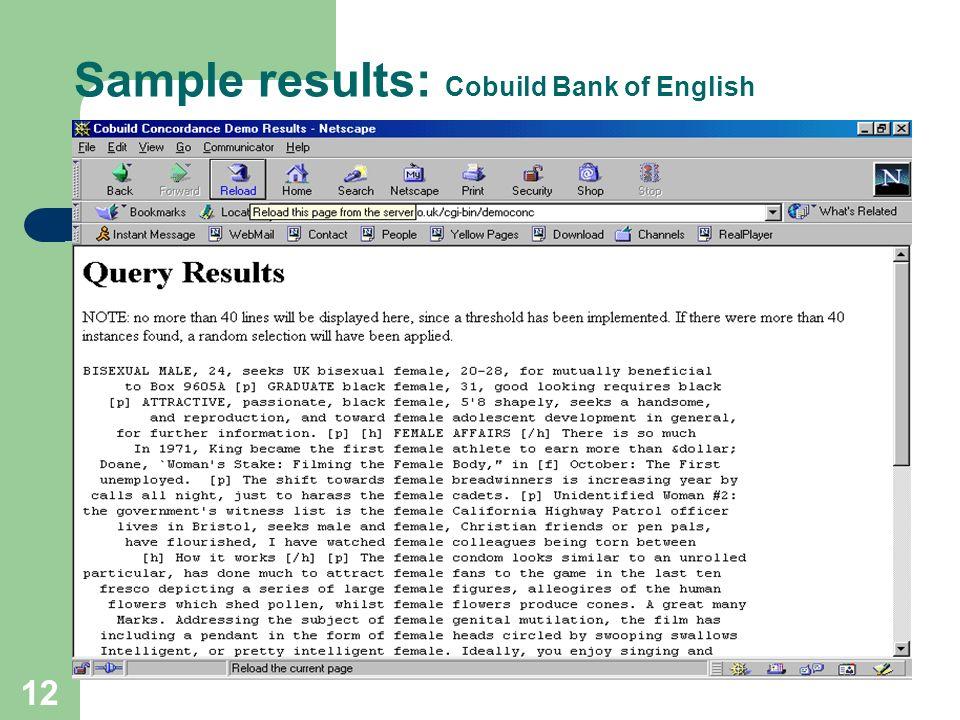11 Sample search: Cobuild Bank of English